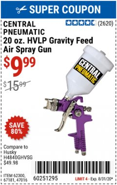 Harbor Freight Coupon 20 OZ. HVLP GRAVITY FEED SPRAY GUN Lot No. 67181/62300/47016 Expired: 8/31/20 - $9.99