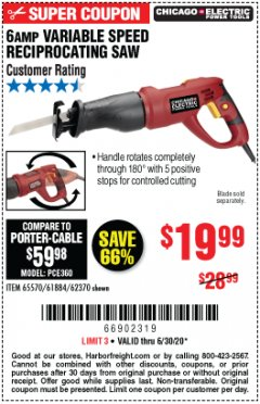 Harbor Freight Coupon 6 AMP VARIABLE SPEED RECIPROCATING SAW Lot No. 65570/61884/62370 EXPIRES: 6/30/20 - $19.99
