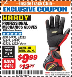 Harbor Freight ITC Coupon PROFESSIONAL MECHANICS GLOVES Lot No. 56249/62525/64731/62526/64947/62524 Dates Valid: 12/31/69 - 6/30/20 - $9.99