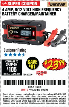 Harbor Freight Coupon 4 AMP, 6/12 VOLT HIGH FREQUENCY BATTERY CHARGER/MAINTAINER Lot No. 63350 Expired: 2/29/20 - $23.99