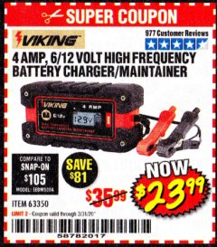Harbor Freight Coupon 4 AMP, 6/12 VOLT HIGH FREQUENCY BATTERY CHARGER/MAINTAINER Lot No. 63350 Expired: 3/31/20 - $23.99