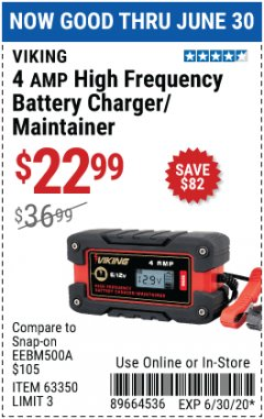 Harbor Freight Coupon 4 AMP, 6/12 VOLT HIGH FREQUENCY BATTERY CHARGER/MAINTAINER Lot No. 63350 EXPIRES: 6/30/20 - $22.99