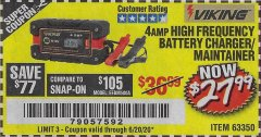 Harbor Freight Coupon 4 AMP, 6/12 VOLT HIGH FREQUENCY BATTERY CHARGER/MAINTAINER Lot No. 63350 Valid Thru: 6/20/20 - $27.99