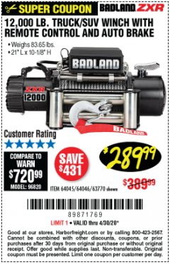 Harbor Freight Coupon 12,000 LB. TRUCK/SUV WINCH WITH REMOTE CONTROL AND AUTO BRAKE Lot No. 64045/64046/63770 EXPIRES: 6/30/20 - $289.99