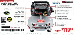 Harbor Freight Coupon FORTRESS 6 GALLON, 175 PSI OIL-FREE AIR COMPRESSOR Lot No. 56628/56829 Expired: 2/16/20 - $119.99