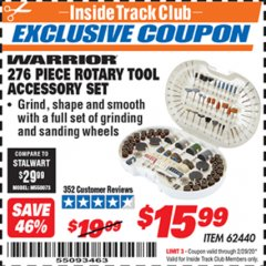 Harbor Freight ITC Coupon 276 PIECE ROTARY TOOL ACCESSORY SET Lot No. 62440 Valid: 2/1/20 - 2/29/20 - $15.99