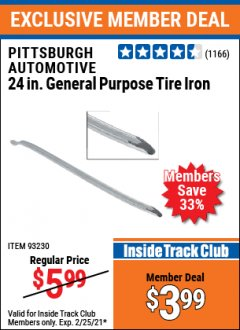 "Harbor Freight ITC Coupon 24"" GENERAL PURPOSE TIRE IRON Lot No. 61603/93230 Expired: 2/25/21 - $3.99"