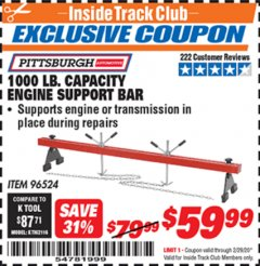 Harbor Freight ITC Coupon 1000 LB. CAPACITY ENGINE SUPPORT BAR Lot No. 96524 Valid: 2/1/20 - 2/29/20 - $59.99