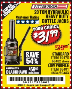 Harbor Freight Coupon 20 TON HYDRAULIC BOTTLE JACK, STANDARD AND LOW PROFILE Lot No. 69478 66482 66481 5534 69483 EXPIRES: 6/30/20 - $31.99