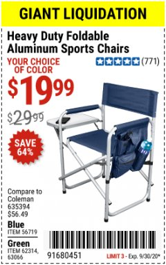 Harbor Freight Coupon HEAVY DUTY FOLDABLE ALUMINUM SPORTS CHAIRS Lot No. 56719/63066/62314 Expired: 9/30/20 - $19.99
