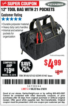 "Harbor Freight Coupon 12"" TOOL BAG WITH 21 POCKETS Lot No. 38168/62163/62349/61467 Expired: 2/9/20 - $4.99"