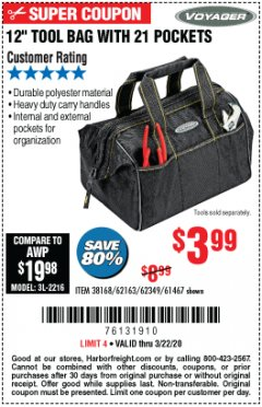 "Harbor Freight Coupon 12"" TOOL BAG WITH 21 POCKETS Lot No. 38168/62163/62349/61467 Expired: 3/22/20 - $3.99"