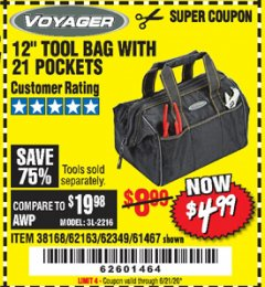"Harbor Freight Coupon 12"" TOOL BAG WITH 21 POCKETS Lot No. 38168/62163/62349/61467 Expired: 6/21/20 - $4.99"
