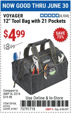 "Harbor Freight Coupon 12"" TOOL BAG WITH 21 POCKETS Lot No. 38168/62163/62349/61467 Expired: 6/30/20 - $4.99"