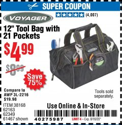 "Harbor Freight Coupon 12"" TOOL BAG WITH 21 POCKETS Lot No. 38168/62163/62349/61467 Expired: 8/16/20 - $4.99"