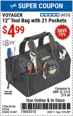 "Harbor Freight Coupon 12"" TOOL BAG WITH 21 POCKETS Lot No. 38168/62163/62349/61467 Expired: 7/31/20 - $4.99"