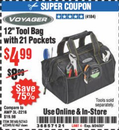 "Harbor Freight Coupon 12"" TOOL BAG WITH 21 POCKETS Lot No. 38168/62163/62349/61467 Expired: 9/24/20 - $4.99"