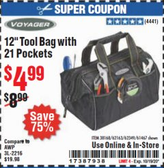 "Harbor Freight Coupon 12"" TOOL BAG WITH 21 POCKETS Lot No. 38168/62163/62349/61467 Valid Thru: 10/19/20 - $4.99"