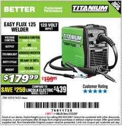 Harbor Freight Coupon EASY FLUX 125 WELDER Lot No. 56359/56355 Expired: 2/23/20 - $179.99