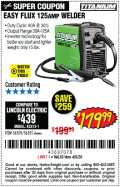 Harbor Freight Coupon EASY FLUX 125 WELDER Lot No. 56359/56355 Expired: 6/30/20 - $179.99