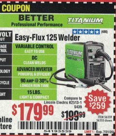 Harbor Freight Coupon EASY FLUX 125 WELDER Lot No. 56359/56355 Valid: 6/30/20 - 8/30/20 - $179.99