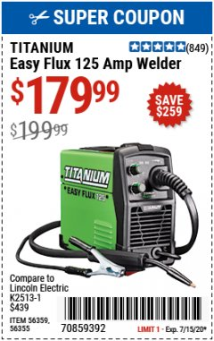 Harbor Freight Coupon EASY FLUX 125 WELDER Lot No. 56359/56355 Valid Thru: 7/15/20 - $179.99