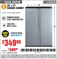 Harbor Freight Coupon YUKON 48X72 GARAGE CABINET Lot No. 64401 Valid Thru: 2/23/20 - $349.99