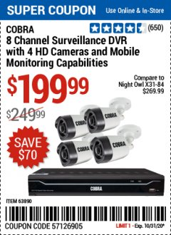 Harbor Freight Coupon COBRA SURVEILLENCE SYSTEMS Lot No. 63842, 63890 Valid: 10/15/20 - 10/31/20 - $199.99