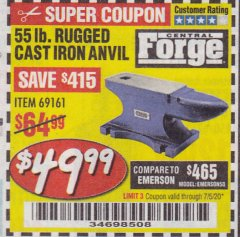 Harbor Freight Coupon 55 LB. RUGGED CAST IRON ANVIL Lot No. 806/69161 EXPIRES: 7/5/20 - $49.99