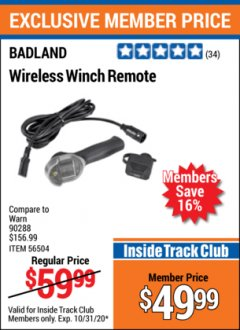 Harbor Freight ITC Coupon BADLAND WIRELESS WINCH REMOTE  Lot No. 56504 Valid Thru: 10/31/20 - $49.99