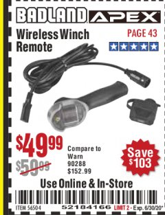 Harbor Freight Coupon BADLAND WIRELESS WINCH REMOTE  Lot No. 56504 Expired: 6/30/20 - $49.99