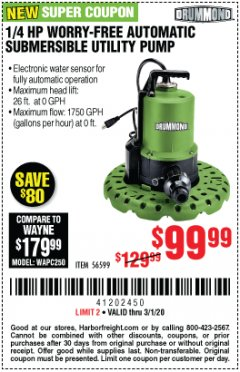Harbor Freight Coupon 1/4 HP WORRY-FREE AUTOMATIC SUBMERSIBLE UTILITY PUMP Lot No. 56599 Expired: 3/1/20 - $99.99