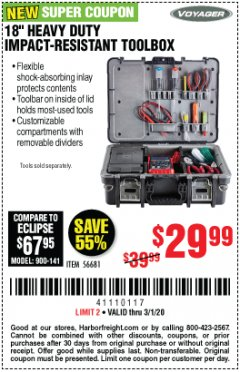 "Harbor Freight Coupon 18"" HEAVY DUTY IMPACT-RESISTANT TOOLBOX Lot No. 56681 Expired: 3/1/20 - $29.99"