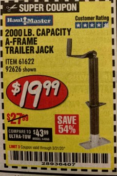 Harbor Freight Coupon HAUL MASTER 2000 LB. CAPACITY A-FRAME TRAILER JACK Lot No. 61622 Valid Thru: 3/31/20 - $19.99