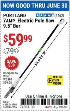 "Harbor Freight Coupon 7AMP ELECTRIC POLE SAW 9.5"" BAR Lot No. 68862/63190/56808/62896 Expired: 6/30/20 - $59.99"