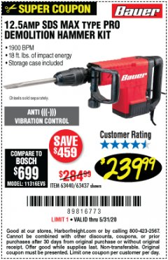 Harbor Freight Coupon 12.5 AMP SDS MAX DEMOLITION HAMMER Lot No. 63440 EXPIRES: 6/30/20 - $239.99