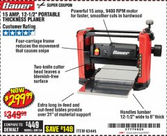 "Harbor Freight Coupon 15 AMP 12 1/2"" PORTABLE THICKNESS PLANER Lot No. 63445 Expired: 6/30/20 - $299.99"