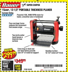 "Harbor Freight Coupon 15 AMP 12 1/2"" PORTABLE THICKNESS PLANER Lot No. 63445 Expired: 6/21/20 - $299.99"