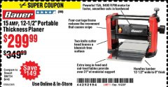 "Harbor Freight Coupon 15 AMP 12 1/2"" PORTABLE THICKNESS PLANER Lot No. 63445 Expired: 10/2/20 - $299.99"