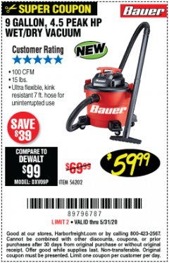 Harbor Freight Coupon 9 GALLON 4.5HP WET/DRY VACUUM Lot No. 56202 EXPIRES: 6/30/20 - $59.99