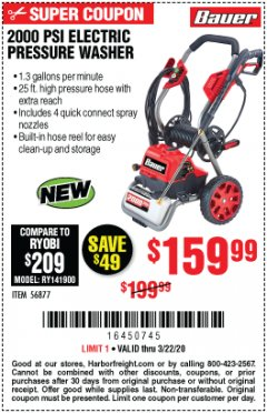 Harbor Freight Coupon 2000 PSI ELECTRIC PRESSURE WASHER Lot No. 56877 Expired: 3/22/20 - $159.99