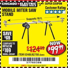 Harbor Freight Coupon MOBILE MITER SAW STAND Lot No. 63409, 62750 Valid Thru: 5/6/20 - $99.99
