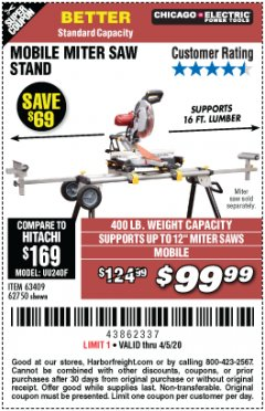 Harbor Freight Coupon MOBILE MITER SAW STAND Lot No. 63409, 62750 Valid Thru: 4/5/20 - $99.99