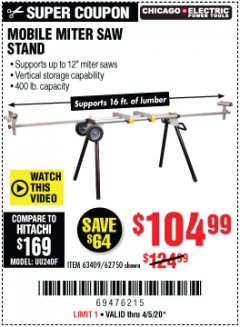 Harbor Freight Coupon MOBILE MITER SAW STAND Lot No. 63409, 62750 Valid Thru: 4/5/20 - $104.99