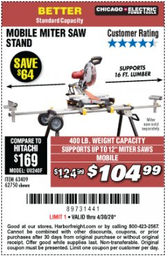 Harbor Freight Coupon MOBILE MITER SAW STAND Lot No. 63409, 62750 Valid Thru: 4/30/20 - $104.99