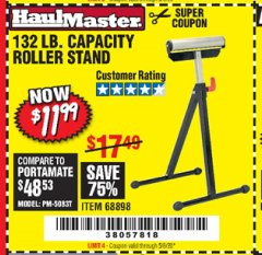 Harbor Freight Coupon 132 LB. CAPACITY ROLLER STAND Lot No. 68898 EXPIRES: 6/30/20 - $11.99