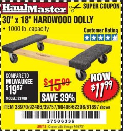 "Harbor Freight Coupon 30""X18"" 1000LB HARDWOOD DOLLY Lot No. 92486/39757/60496/62398/61897/38970 Valid: 5/14/20 - 8/19/20 - $11.99"