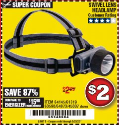 Harbor Freight Coupon HEADLAMP WITH SWIVEL LENS Lot No. 45807/61319/63598/62614 Valid Thru: 6/30/20 - $2