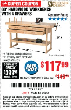 "Harbor Freight Coupon 60"" HARDWOOD WORKBENCH WITH 4 DRAWERS Lot No. 63395/93454/69054/62603 Expired: 3/22/20 - $117.99"