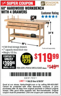 "Harbor Freight Coupon 60"" HARDWOOD WORKBENCH WITH 4 DRAWERS Lot No. 63395/93454/69054/62603 EXPIRES: 6/30/20 - $119.99"